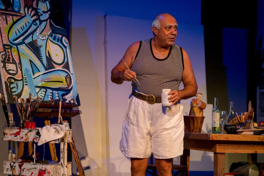"Playwright and performer Herbert Sigüenza in his solo play ""A Weekend With Pablo Picasso"" at New Village Arts Theatre in Carlsbad."