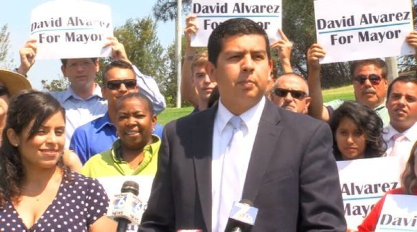 Sept. 9, 2013 _ David Alvarez announced Monday he is running for Mayor of San Diego at Presidio Park. Alex Fuller / U-T TV
