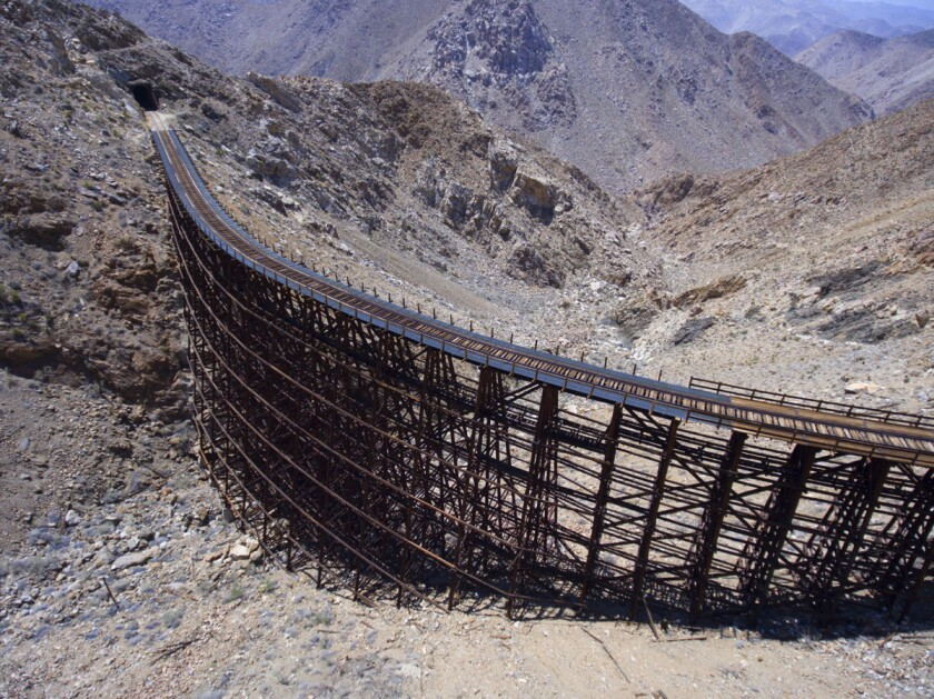 The Goat Canyon trestle railroad bridge, part of the Desert Line railroad line. A new company will take over repairs and eventual operations of the beleaguered Desert Line railroad, clearing the way for work to begin this summer.