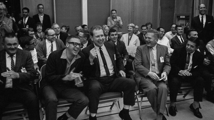 June 2, 1966: Scientists and engineers at the Caltech lab whoop it up after word was flashed that Surveyor 1 was on the moon.