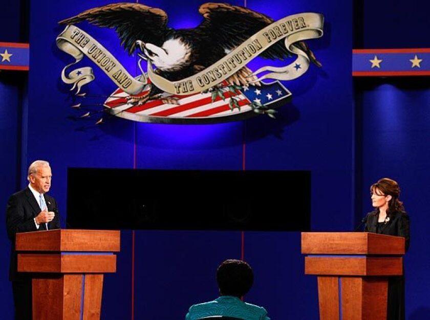 Joe Biden debates Sarah Palin in an October 2008 vice presidential debate.