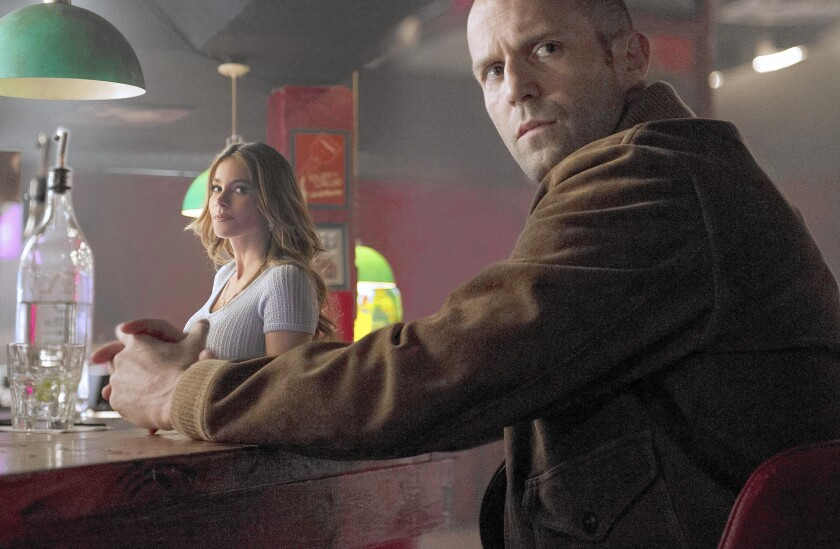 "Sofia Vergara and Nick Wild Jason Statham in ""Wild Card."""