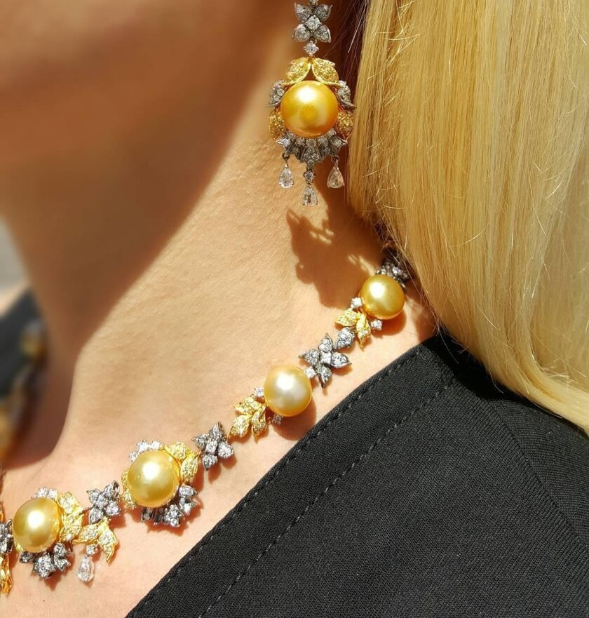 This Golden South Sea Pearl Diamond necklace and earring suite with more than 500 diamonds was donated by Vahid Moradi, president of CJ Charles Jewelers, for UCSD Moores Cancer Center's Spark Gala, where it was auctioned for $100,000.