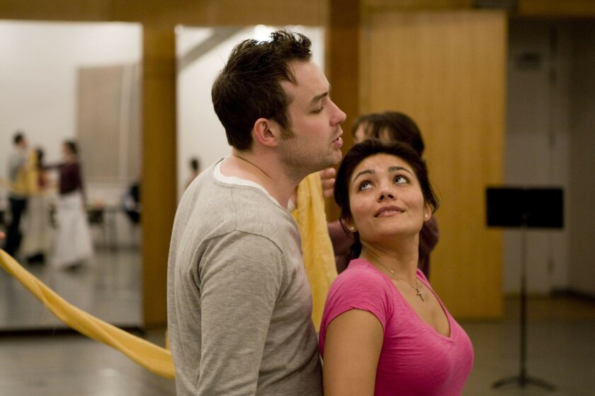 "Ailyn Pérez as Juliet and Stephen Costello as Romeo practiced a dance during rehearsals for the San Diego Opera's production of ""Romeo and Juliet."""
