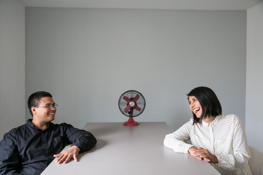Ingrid Hernandez with Abraham Avila, of Relaciones Inesperadas