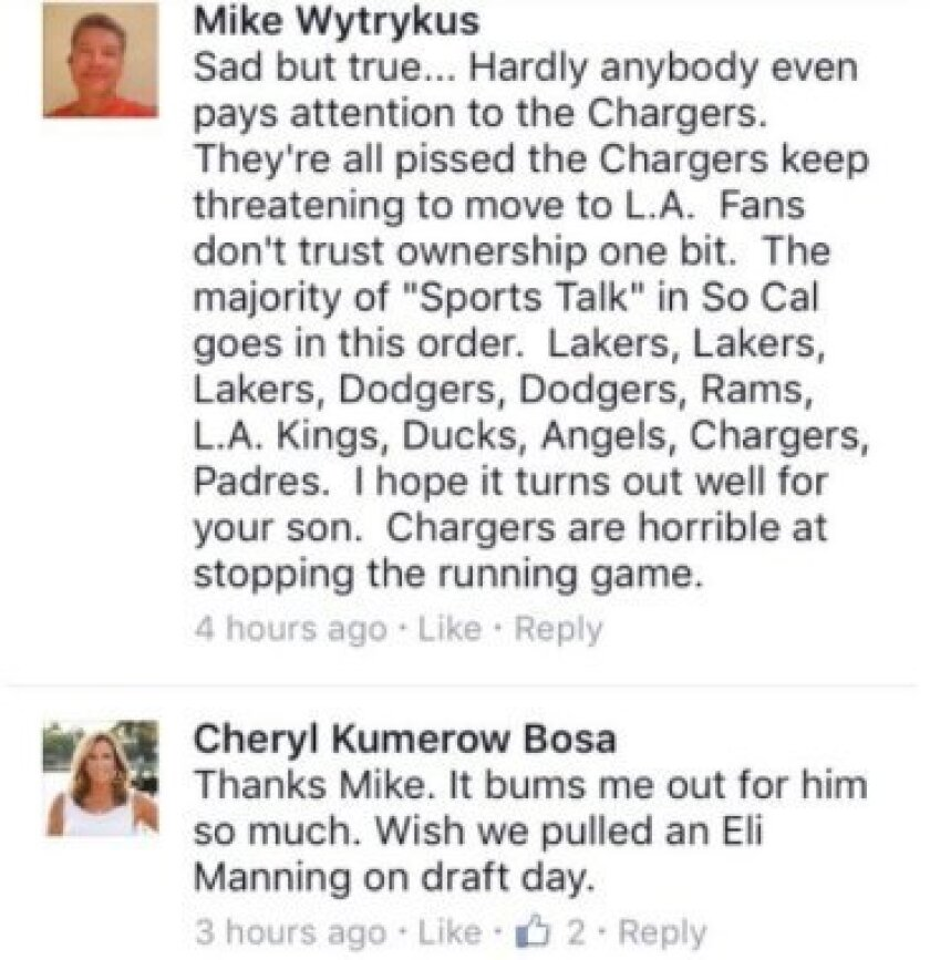 Cheryl Bosa, the mother of Joey Bosa, expressed her frustration Sunday about the ongoing contract dispute between the Chargers and her son.