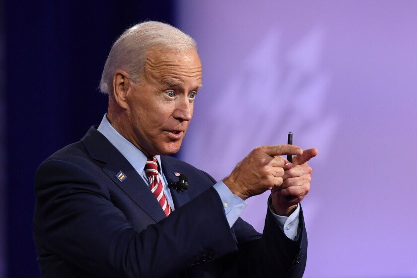 Joe Biden speaks at the LGBTQ town hall in Los Angeles.
