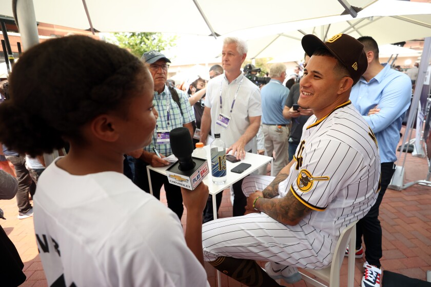 Manny Machado speaks to the media during All-Star Workout Day at Coors Field on Monday.