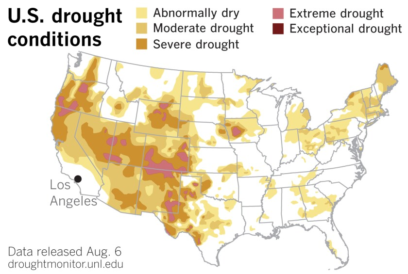 U.S. Drought Monitor data released Thursday show drought expanding in the West.