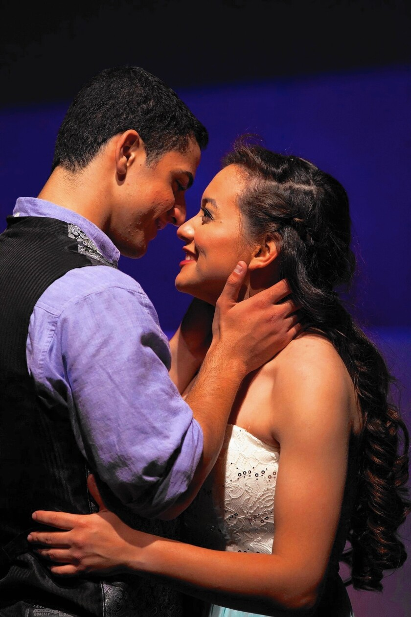 """Danielle Canas (Juliet) and Mahmoud Elshakawy (Romeo) star in """"Romeo and Juliet"""" at Golden West College."""