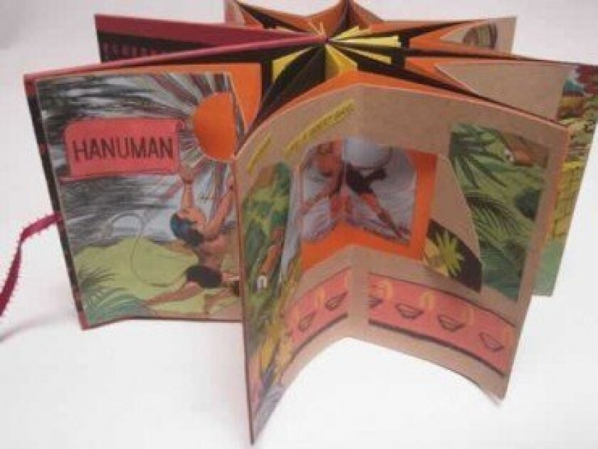 'Hanuman' by  Marilyn Stablein.  Handmade papers are collaged with images from vintage Indian children's comic, screen-printed cover paper and laser copies of vintage images.  COURTESY