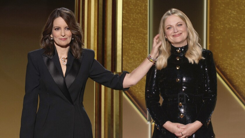 In this video grab by NBC, hosts Tina Fey, left, from New York, and Amy Poehler, from Beverly Hills
