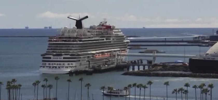 Cruise ship docked off Long Beach.