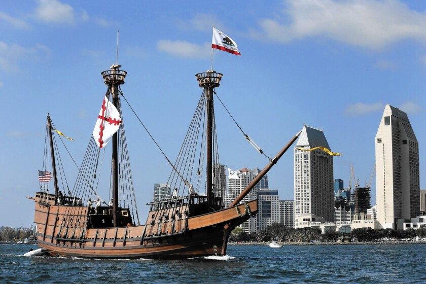Juan Rodriguez Cabrillo is the explorer credited with discovering San Diego Bay in 1542; pictured is a replica of his ship sailing along San Diego's waterfront.