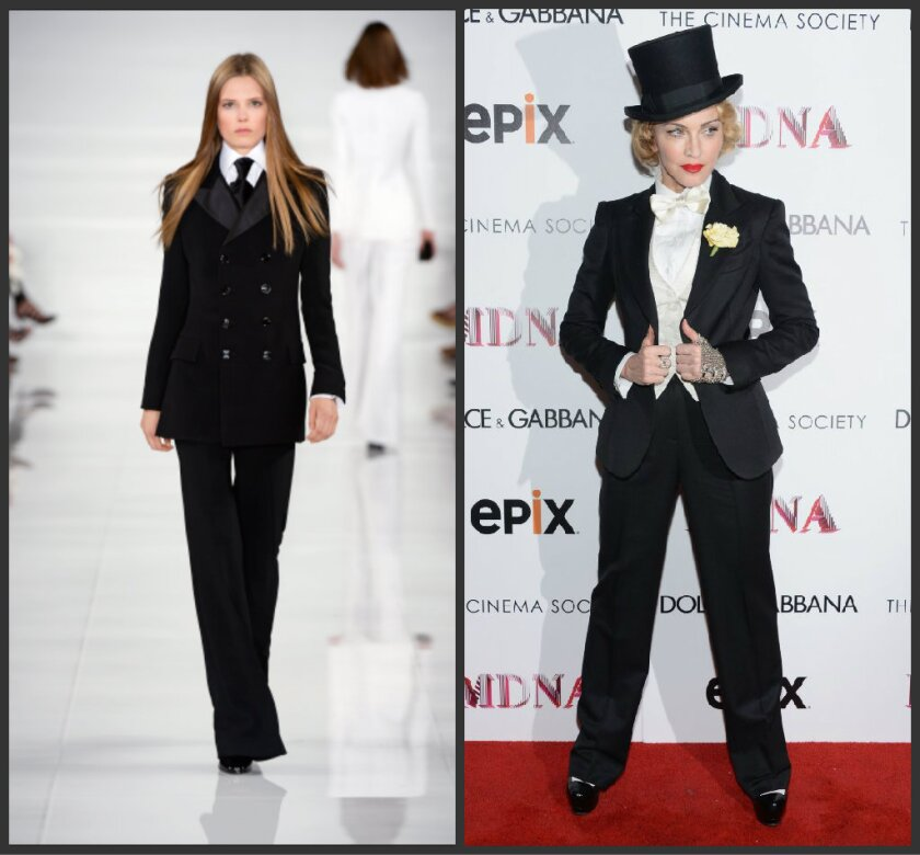 Madonna, right, is expected to wear this Ralph Lauren spring 2014 tuxedo look on the Grammys red carpet.