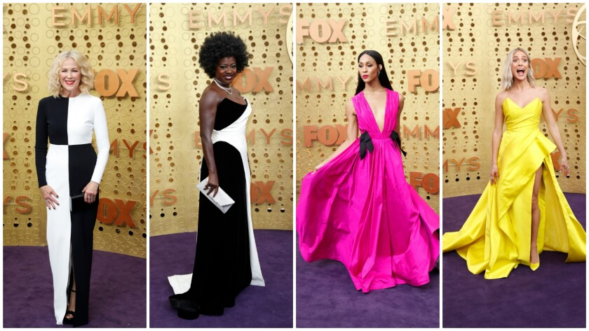The trends at the 2019 Emmys included black and white color-blocking and candy-dish colors