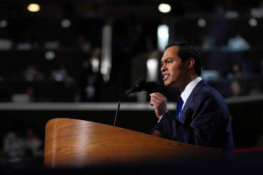"""San Antonio Mayor Julian Castro gives the keynote address at the Democratic National Convention. """"We all celebrate individual success. But the question is, how do we multiply that success?"""""""
