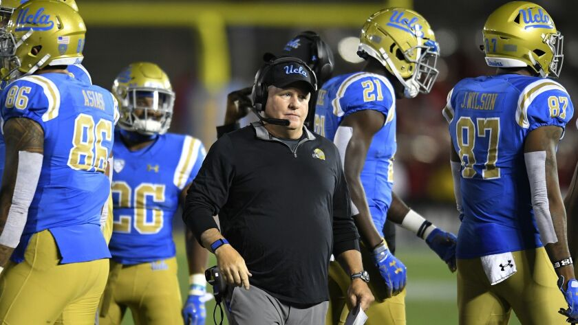 Chip Kelly coaches UCLA against Utah on Oct. 26, 2018, at the Rose Bowl.