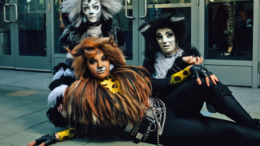 """ANAHEIM, CALIF. - MARCH 30: Cosplaying as Cats from the musical, """"Cats,"""" Hudson Hawk Pritchard, Lily"""