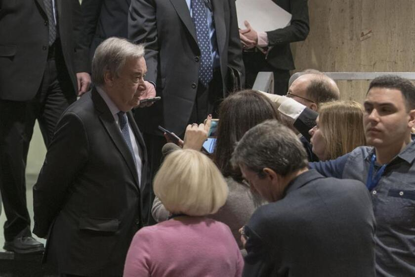 The United Nations provided this photo of Secretary-General Antonio Guterres (L) talking to reporters at UN headquarters in New York on Monday, Feb. 4. EFE-EPA/Mark/EDITORIAL USE ONLY