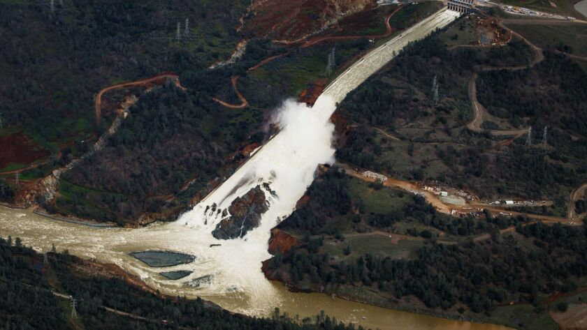 OROVILLE, CALIF. -- TUESDAY, FEBRUARY 21, 2017: An aerial view of the water flowing out of the Orovi
