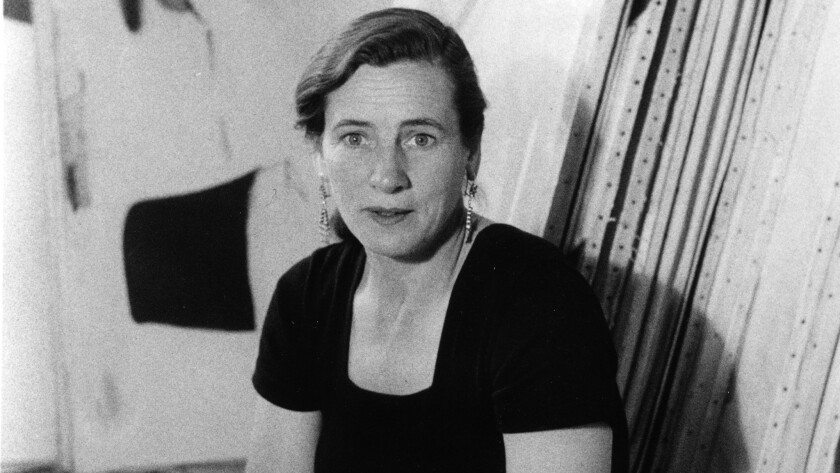 Painter Agnes Martin, seen here in 1953, is the subject of an award-winning biography and a one-woman retrospective at LACMA.