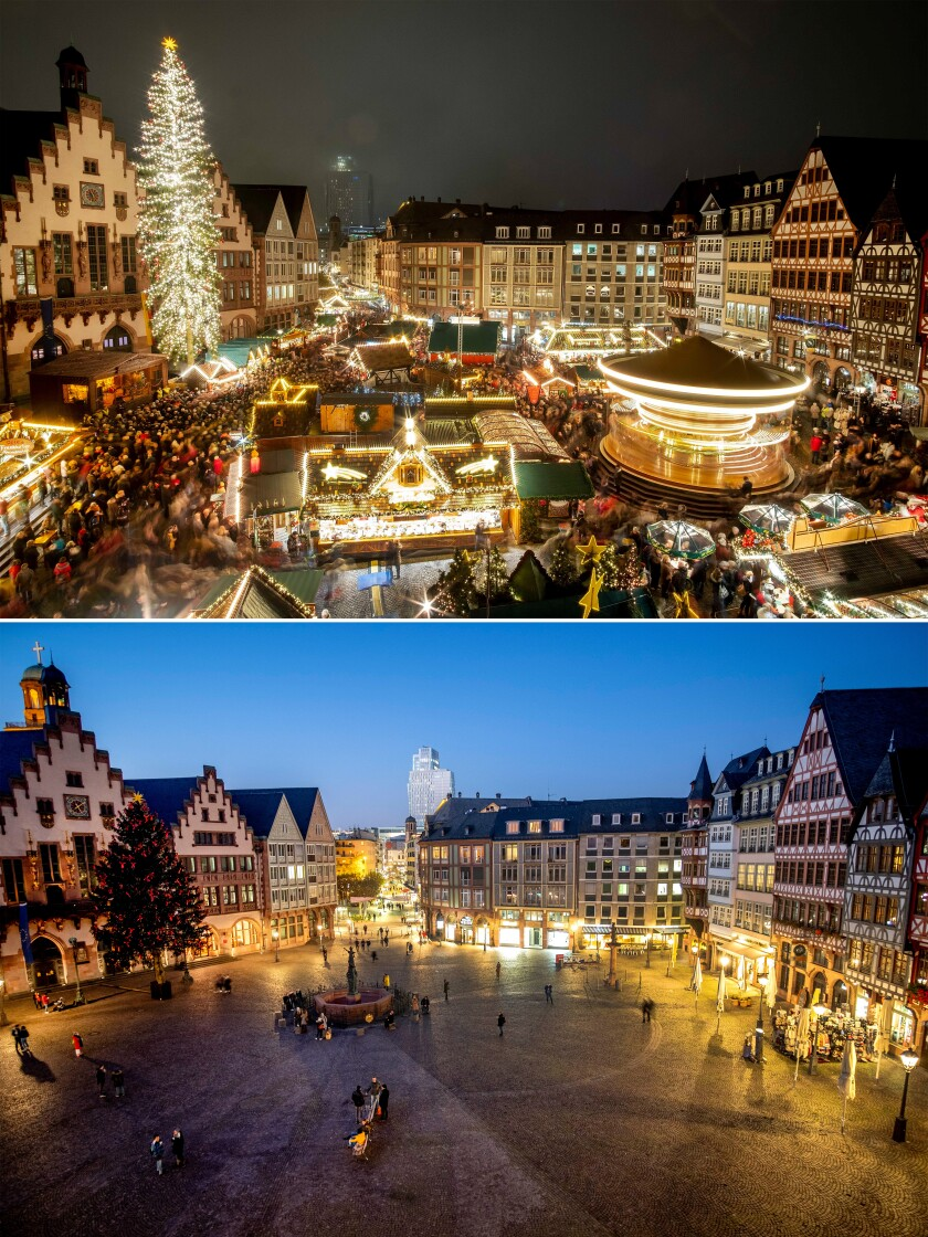 This combination image shows a file photo dated Monday, Nov. 25, 2019 of the Roemerberg square in Frankfurt, Germany, with the traditional Christmas market, top, and the Roemerberg square on Friday, Nov. 27, 2020, below. Christmas markets, a cherished tradition in Germany and neighboring countries, have joined the long list of institutions canceled or diminished because of the coronavirus pandemic this year. (AP Photo/Michael Probst, file)