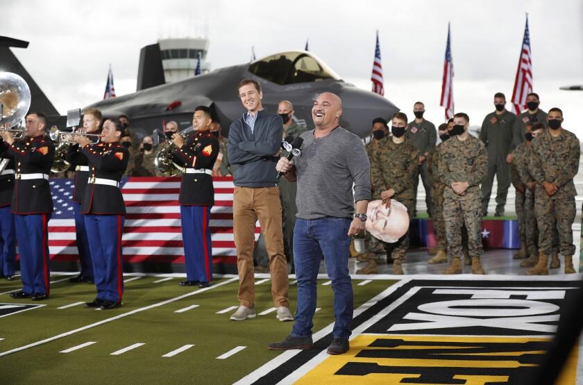 NFL Insider Jay Glazer (front) and Cooper Manning