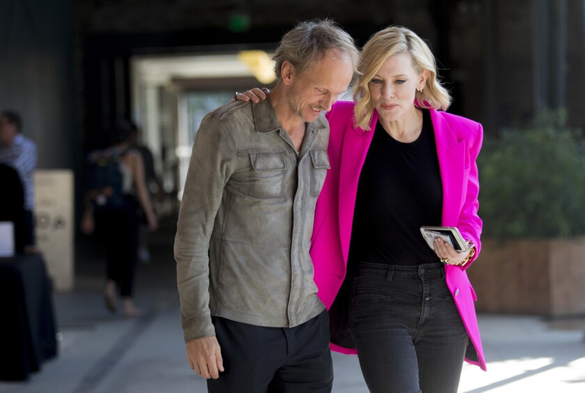 LOS ANGELES, CA OCTOBER 27, 2018: Actress Cate Blanchett, right, with artist Julian Rosenfeldt, le
