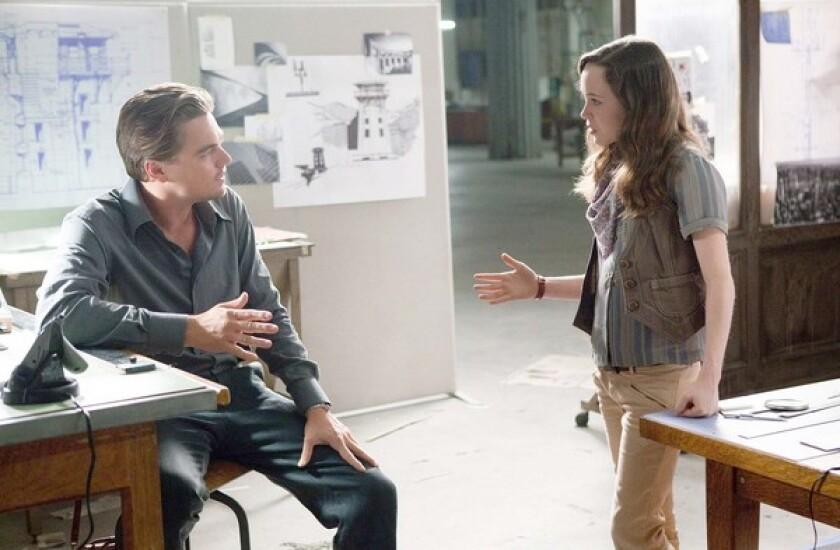 "Leonardo DiCaprio and Ellen Page in the movie ""Inception."""