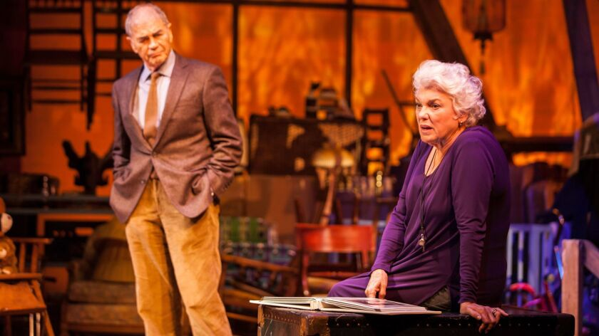 """Tyne Daly stars in the world premiere of """"Chasing Mem'ries: A Different Kind of Musical"""" at the Geffen Playhouse. Robert Forster plays the imagined ghost of her husband."""