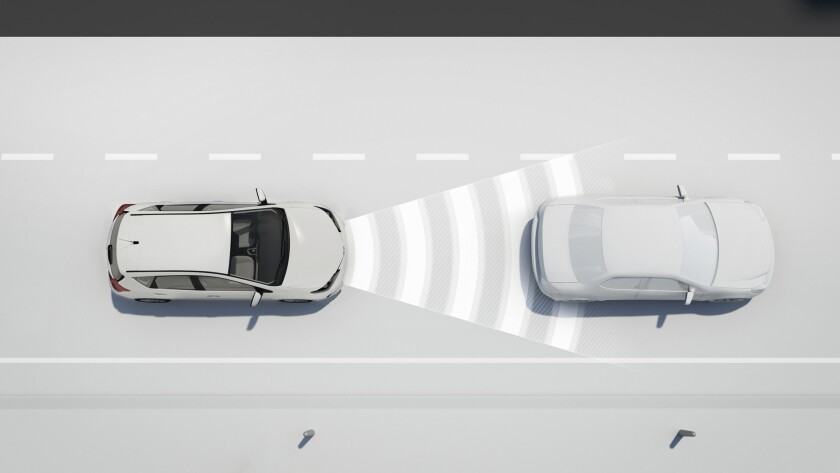 Radar tracks the car ahead in this Toyota rendering of an advanced technology safety system