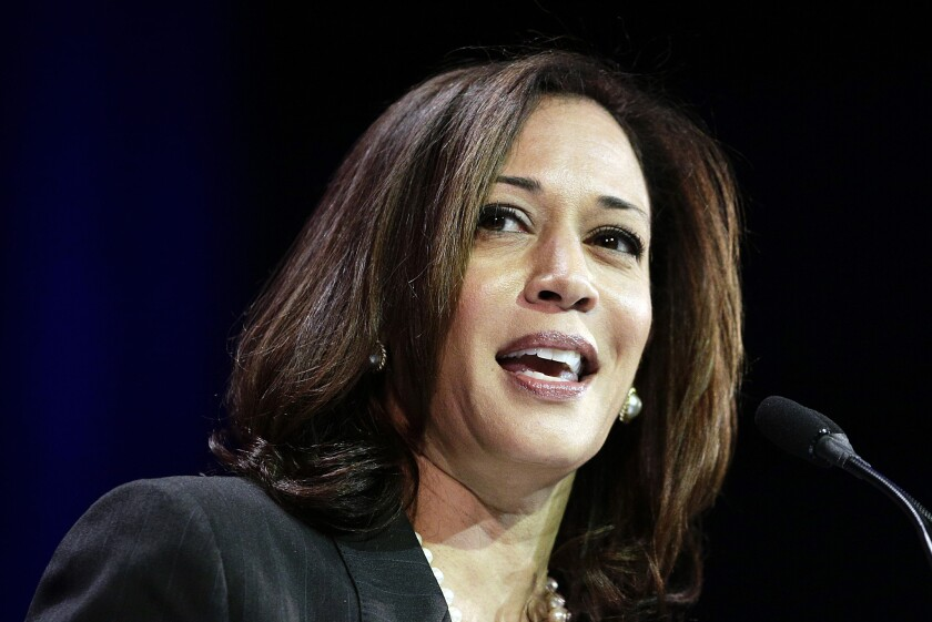 California Atty. Gen. Kamala Harris speaks during a general session of the California Democratic Party's State Convention in January.