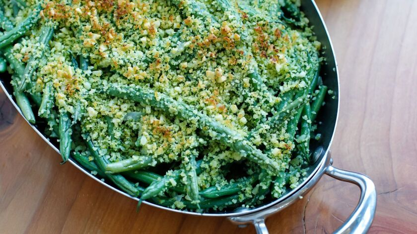 Tim Kolanko's Green Beans With Toasted Almonds and Citrus.