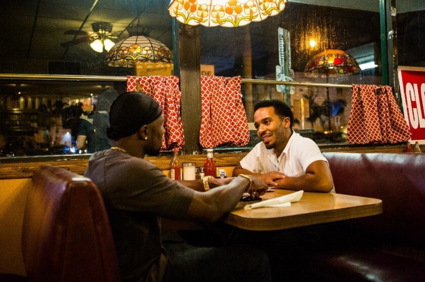 """Trevante Rhodes and Andre Holland in """"Moonlight,"""" which earned six Spirit Awards nominations."""