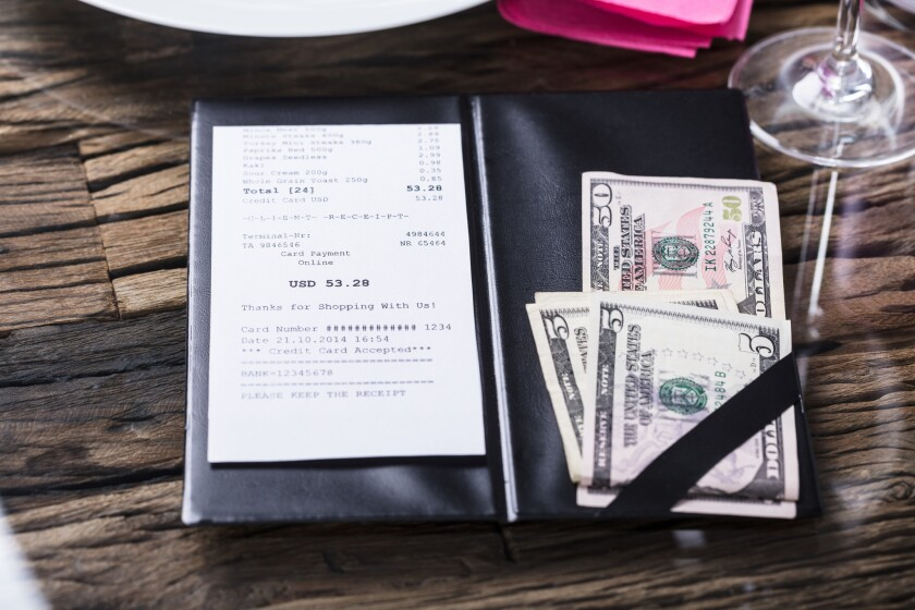 With hourly wages higher, tips should be going down, not up — says La Jolla resident John Weil.