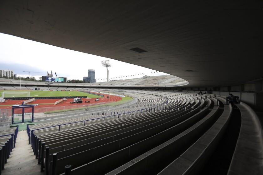 Las gradas vacías del Estadio Olímpico Universitario de la Ciudad de México previo al partido entre Cruz Azul y León