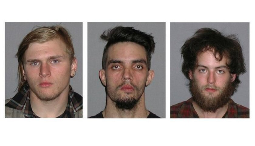 Ohio bomb plot defendants, from left, Brandon Baxter, Douglas Wright and Connor Stevens. The three men pleaded guility and were sentenced to federal prison.