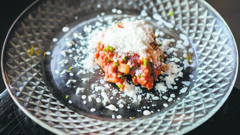 Chef Steve Brown's kimchi imperial Wagyu hanger steak tartare with horseradish dish.