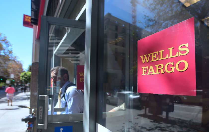 A Wells Fargo bank branch in downtown Los Angeles.