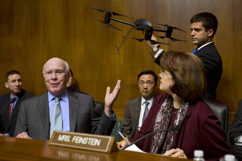 Senate Judiciary Committee Chairman Patrick J. Leahy (D-Vt.), with Sen. Dianne Feinstein (D-Calif.), leads the hearing on domestic drones and privacy issues.