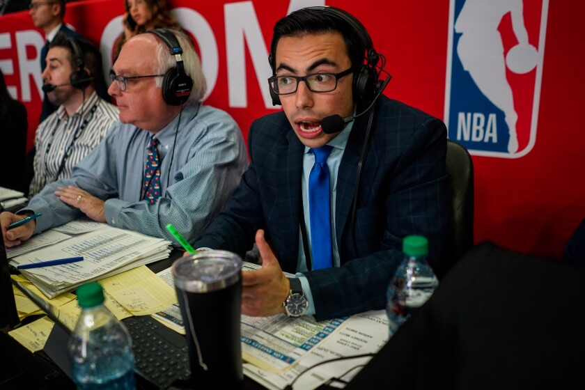 Clippers radio broadcaster Noah Eagle does play-by-play