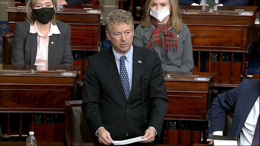 Sen. Rand Paul (R-Ky.) makes a motion that the impeachment trial against former President Donald Trump is unconstitutional.