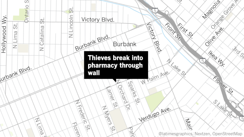 Police say a trio of men are believed to be responsible for a series of pharmacy burglaries that occurred earlier this year in Burbank, Glendale, Pasadena and Los Angeles.