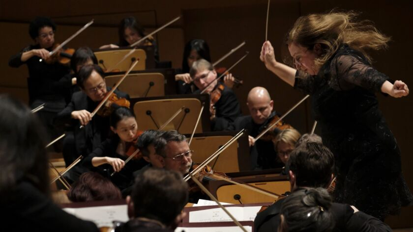 LOS ANGELES, CA February 1, 2019: Australian conductor Simone Young makes her debut conducting the