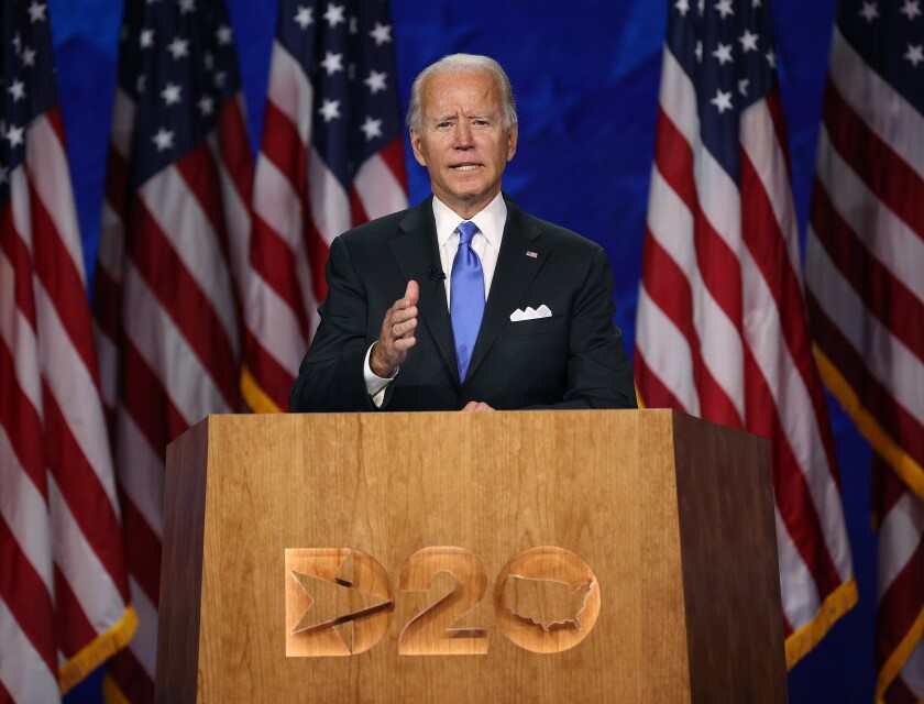 Democratic presidential nominee Joe Biden speaks on the fourth night of the Democratic National Convention.