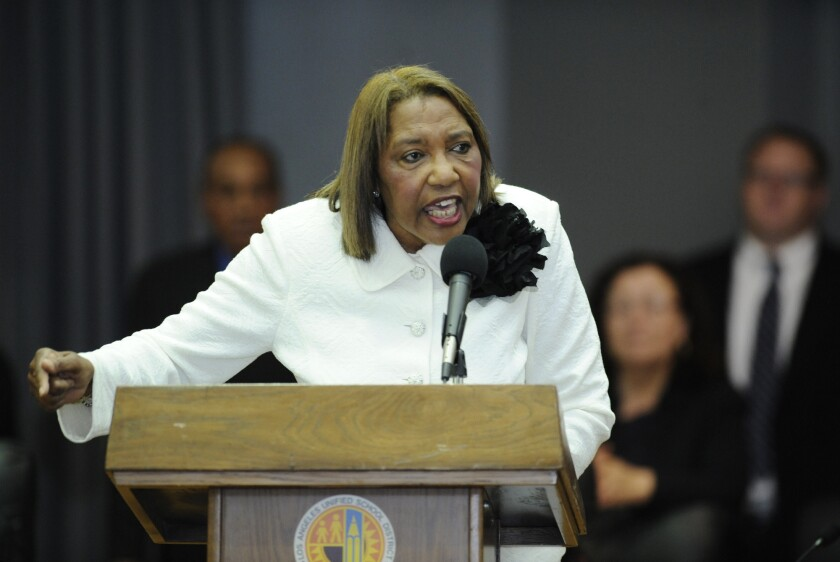 Marguerite Poindexter LaMotte speaks after being sworn into office on the Los Angeles Board of Education.