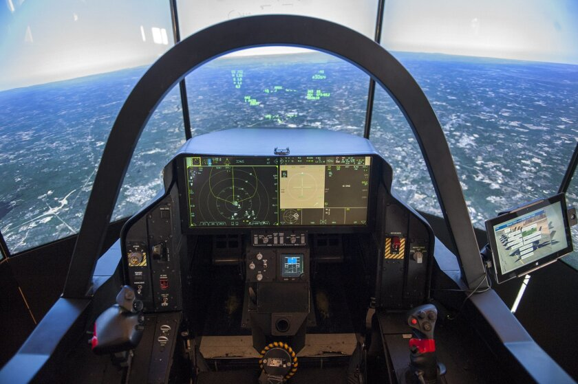 A view from inside the F-35 Lightning II demonstrator on June 8, 2015 at Naval Air Station North Island. The cockpit is identical to what would be found in the actual aircraft.  .