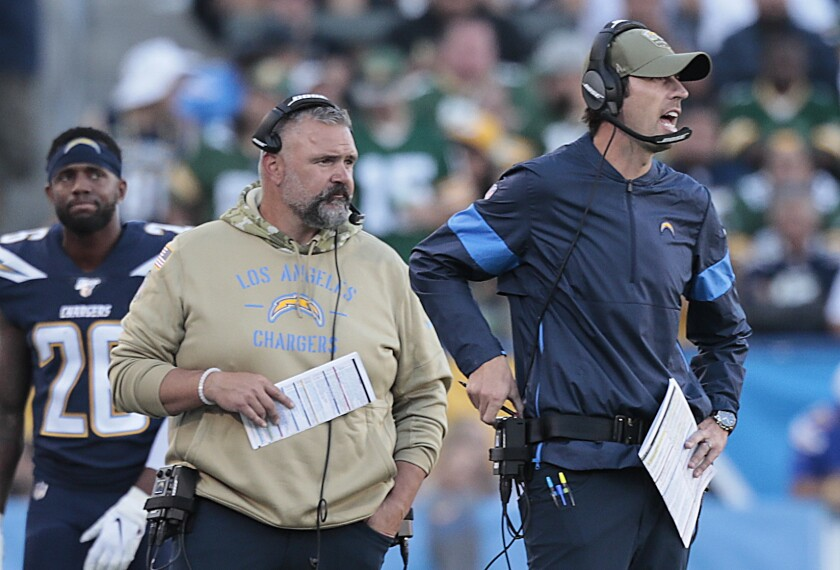 Chargers offensive coordinator Shane Steichen, right, calls plays against Green Bay in November 2019.