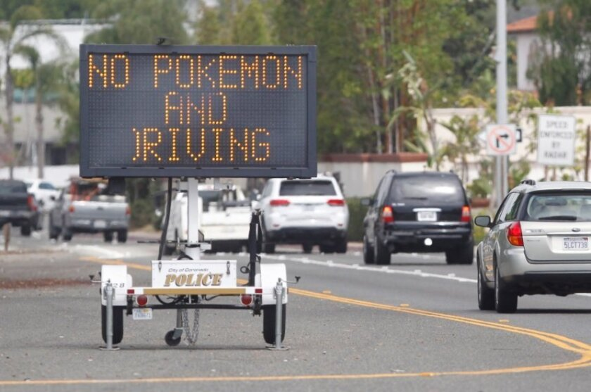 The City of Coronado reminds drivers not to hunt for Pokemon while behind the wheel, not matter how popular the new cellphone game is.